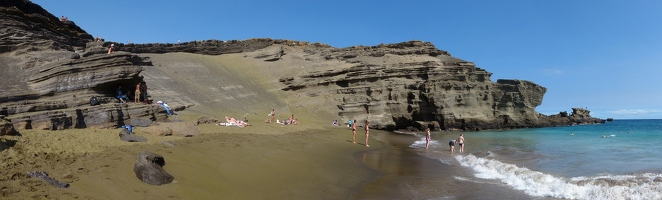 Green sand beach panoramic